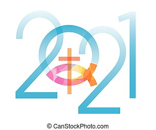 2021 new year with Jesus fish symbol with cross. Isolated on white background. Vector available.