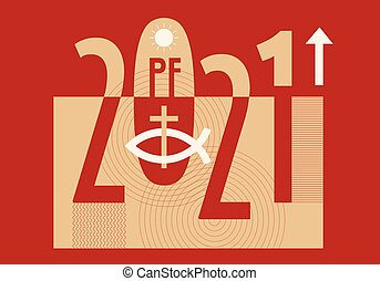 Pf card new year 2021 with Jesus fish symbol with cross, on decorative background. Vector available.