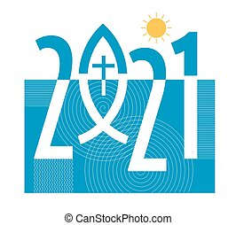 New year 2021 with Jesus fish symbol with cross, on decorative background. Vector available.
