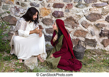Repentant sinner woman asking for forgiveness and healing