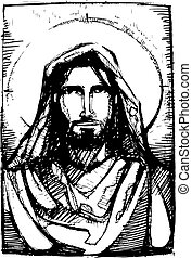 Jesus friend - Hand drawn vector illustration or drawing of...