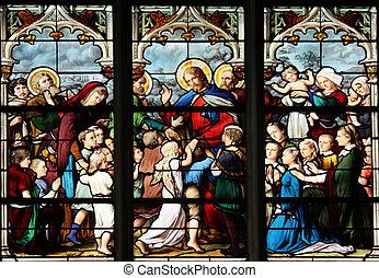 Jesus, Friend of Little Children, stained glass