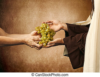 Jesus gives grapes to a beggar on beige background.