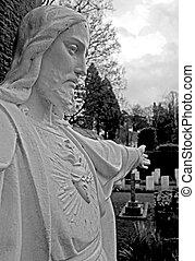 jesus, /, god, monument, in, een, kerk, graveyard