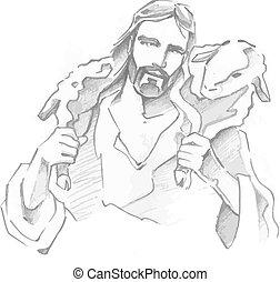 Jesus Good Shepherd - Hand drawn vector illustration or...