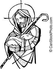 Jesus Good Shepherd - Illustration or drawing of Jesus...