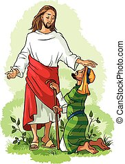 Jesus healing a lame man - Christian theme. Also available...