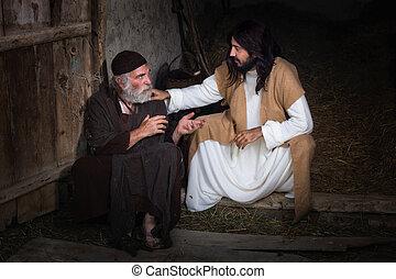 Jesus healing the blind - Jesus healing the lame or crippled...