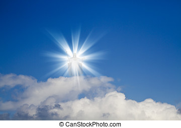Jesus Heaven - Jesus Christ in blue sky with white clouds -...