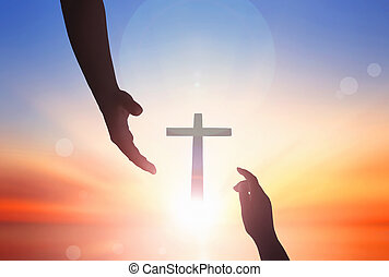 Jesus helping hand concept: World Peace Day Help hand on ...