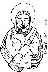 Jesus Hug - Hand drawn vector illustration or drawing of...