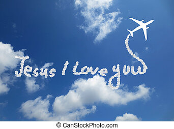 Jesus I Love You! text in clouds form with blue sky...