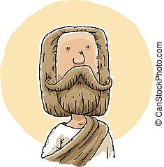 Jesus - Cartoon Jesus with thick beard and robes.