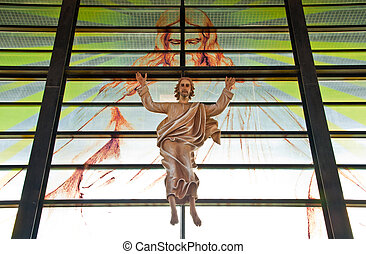 Jesus in Church with God as background