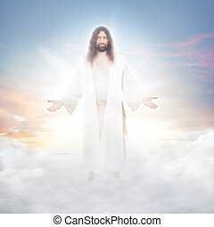 Jesus in the clouds - Jesus resurrected in heavenly clouds ...