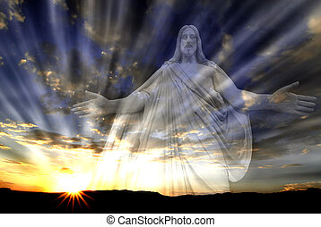 Jesus in the Sky with Rays of Light Love Hope