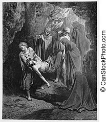 Jesus is buried in the sepulcher - Picture from The Holy Scriptures, Old and New Testaments books collection published in 1885, Stuttgart-Germany.