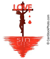 Jesus is Love - Jesus on the cross-Jesus loves you concept
