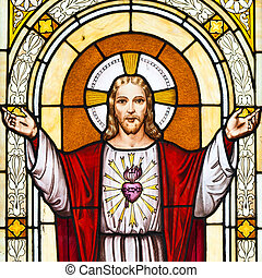 jesus, janela, quadro, em, cemitério