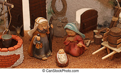 Jesus Joseph with the beard and the stick and Mary 3