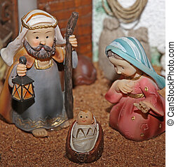 Jesus Joseph with the beard and the stick and Mary 1