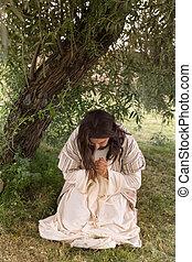 Jesus kneeling in agony at Gethsemane - Jesus in agony...