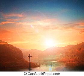 jesus kristus, barmhärtighet, hos, kors, på, fjäll, solnedgång, bakgrund, han, tro, till, tillbedjan, ängel