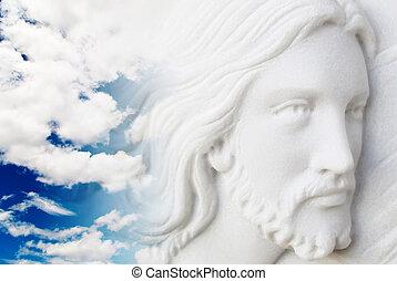 jesus kristus, in, den, sky