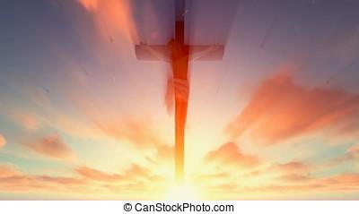 jesus, kruis, tegen, hemels, rode hemel, met, duiven, vliegen