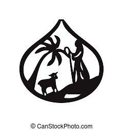 Jesus leader sheep silhouette icon vector illustration on...