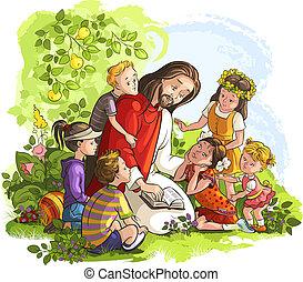 jesus, lezende , bijbel, met, kinderen