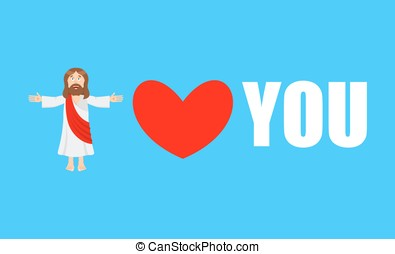 Jesus loves you. You need Gog. Symbol of heart and Son of God. Biblical characters. Holy man. Religious sign for believers. Christ Catholic and Christian hero