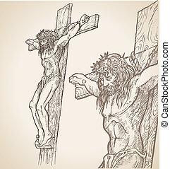 jesus, mão, desenhar