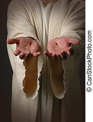jesus, mãos, com, cicatrizes
