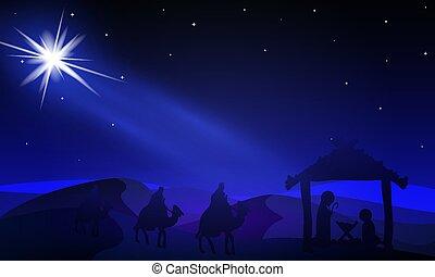 Jesus Mary and Joseph under the night stars, vector art illustration.