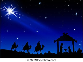 Jesus Mary and Joseph under the stars, vector art illustration.