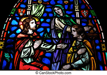 Jesus Mary Martha Stained Glass