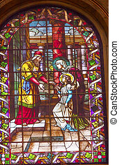 Jesus Mary Temple Visit Stained Glass San Francisco el Grande Royal Basilica Madrid Spain