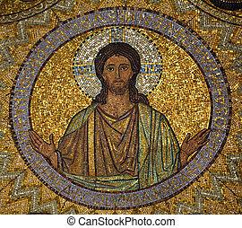 jesus, mozaïek, jerusalem-the, kerk, van, hagia, maria,...