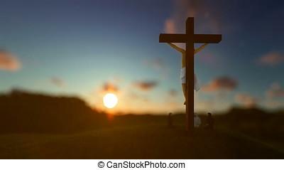 Jesus on cross against beautiful blurry sunset, believers praying