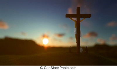 Jesus on cross against beautiful blurry sunset, believers praying