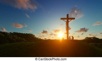 Jesus on cross against beautiful sunset, believers praying
