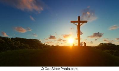 Jesus on cross against beautiful sunset, believers praying