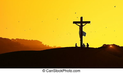 Jesus on cross and worshipers praying against hot sunset, 4K