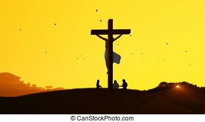 Jesus on cross and worshipers praying against hot sunset,...