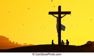 Jesus on cross and worshippers praying against hot sunset,...
