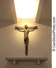 jesus on wooden cross indoor in church