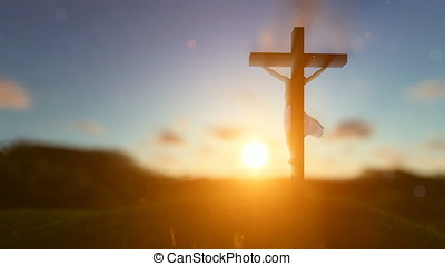 Jesus on cross over blurry sunset, concept for religion
