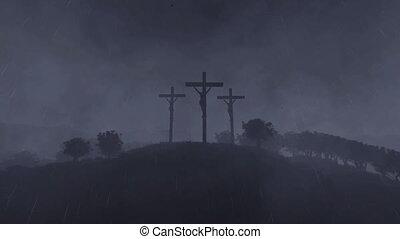 Jesus on cross, time lapse sunrise, raining