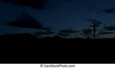 Jesus on Cross, timelapse sunrise, night to day